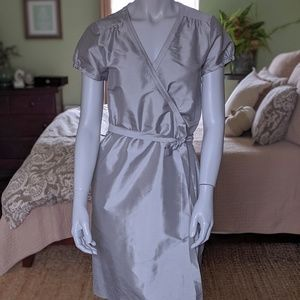 J. Crew beautiful sliver 100% silk capsleeve dress